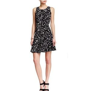 Sleeves fit and flare black and white DVF dress